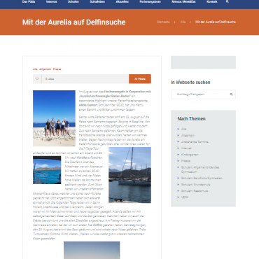 """Schülerbericht """"Mit der Aurelia auf Delfinsuche"""""""